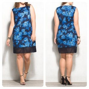 LUXE BY CARMEN MARC VALVO FLORAL SHEATH DRESS